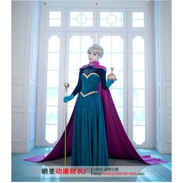 WL468ディズニープレセンス Elsa エルサ ハロウィン 大人用ドレス アナ雪 プリンセスドレス コスプレ 衣装 戴冠式 長袖刺繍 ドレス|queenstylehayato