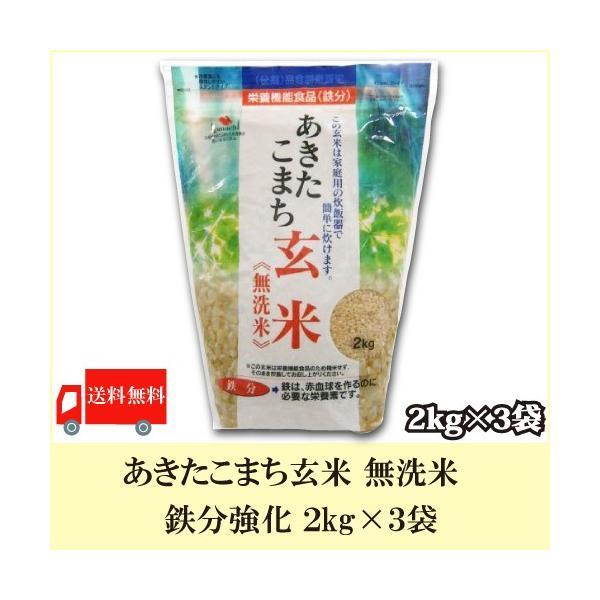 送料無料 あきたこまち玄米 無洗米 鉄分強化 2kg × 3袋