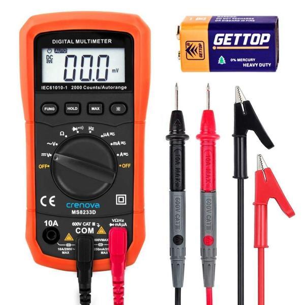 Crenova デジタルマルチメーター 電圧・電流・周波数・抵抗・導通測定テスター|quo-shop