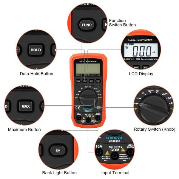 Crenova デジタルマルチメーター 電圧・電流・周波数・抵抗・導通測定テスター|quo-shop|04