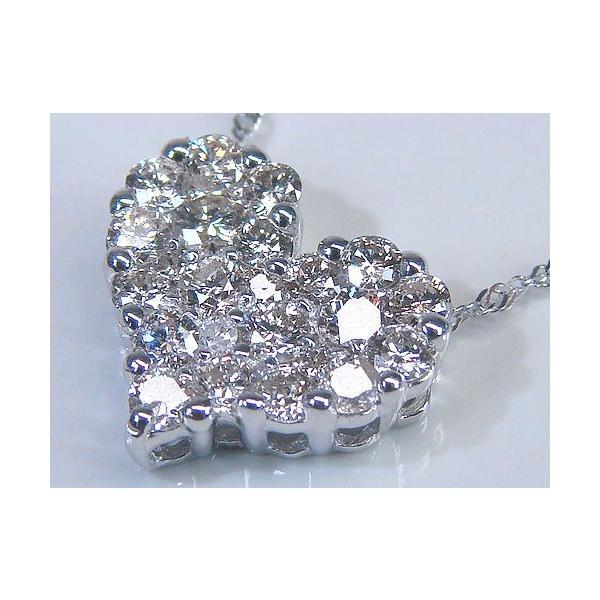K18 ホワイトーゴールド ダイヤモンド 0.50ct ハートパヴェ ペンダントネックレス
