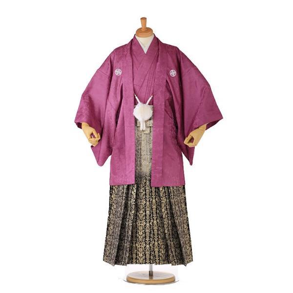 袴レンタル 着物 男 成人式 卒業式 紫系 IAF0006|r-kimonoshop