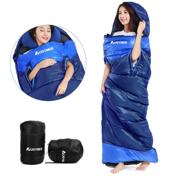 AUGYMERシュラフ寝袋封筒型最新型手が出せる 最低使用温度-5℃1.35kg220cm1人用丸洗いできる連結 防水コンパクト