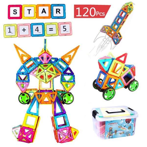 全国 FlyCreatマグネットブロック120ピース磁気おもちゃ子供女の子男の子マグネットおもちゃ磁石ブロック収納ケース付き