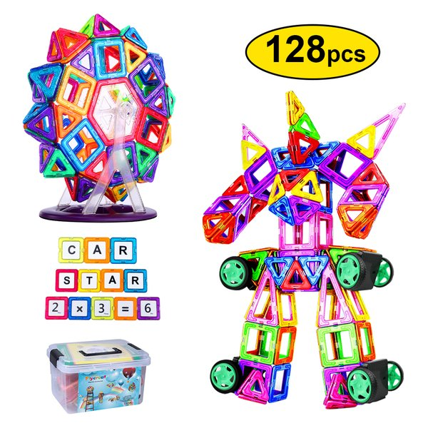 全国 FlyCreatマグネットブロック128ピース磁気おもちゃ子供女の子男の子マグネットおもちゃ磁石ブロック収納ケース付き