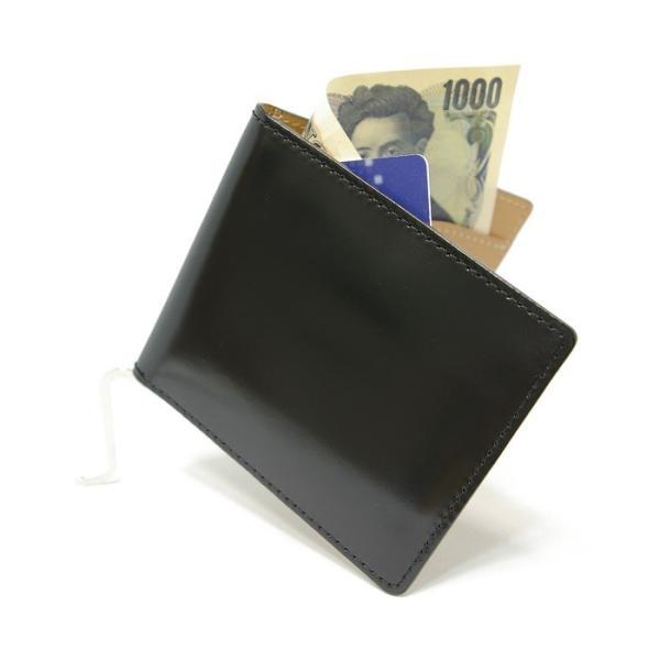 (日本製) 馬革 コードバン マネークリップ (カードポケット有) 純日本製 高品質 Cordovan Money clip 馬革 馬 札挟み 札バサミ|r-style