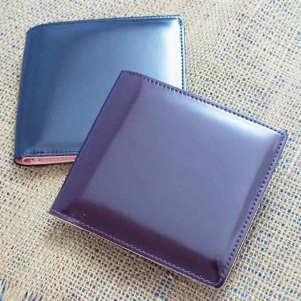 日本製 馬革 コードバン 二つ折り財布 (メンズ コードバン二つ折り財布 小銭入れ有り)Cordovan|r-style|02