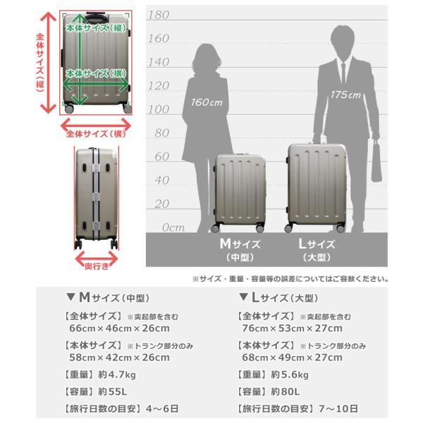 スーツケース キャリーバッグ L サイズ 大型 無料受託手荷物 3辺158cm以内  深溝フレームタイプ Wキャスター TSAロック|rabbittuhan|14