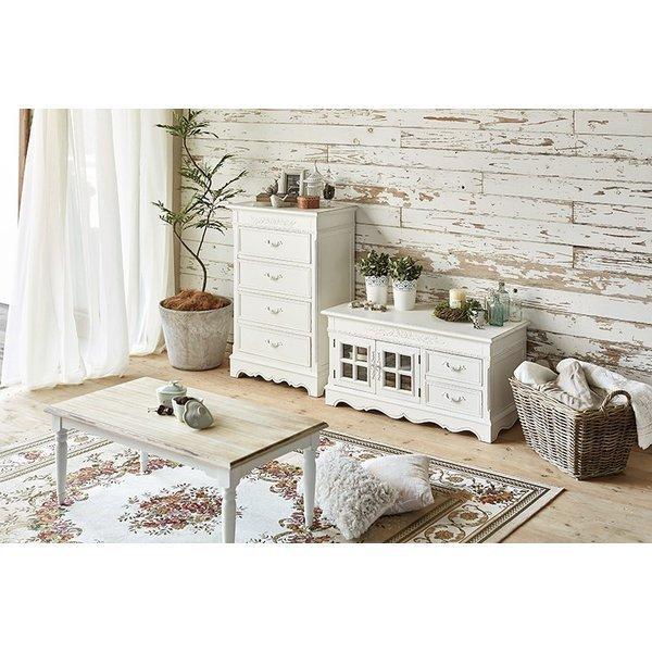 ローテーブル 90cm アンティーク調 ホワイト 長方形 センターテーブル バイカラー|rack-lukit|10