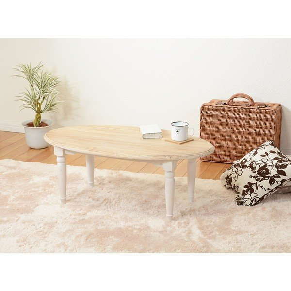 ローテーブル 90cm アンティーク調 ホワイト 楕円形 センターテーブル バイカラー rack-lukit 06
