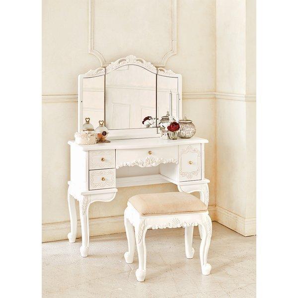 ドレッサー 姫系 椅子付き 化粧台 アンティーク調 チェア+ドレッサーセット 約93cm幅