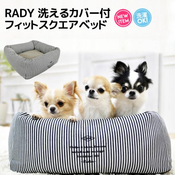 犬 ベッド ラディカ RADY 洗えるカバー付 フィットスクエアベッド Mサイズ ヒッコリー クッション メール便不可