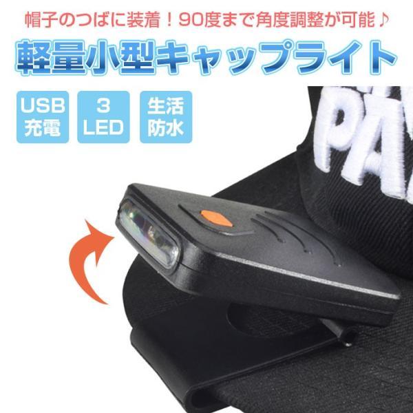 帽子 に挟んで使える クリップ ライト LED キャップ ライト USB充電 作業用 防災 アウトドア ウォーキング 夜道 釣り ゆうパケット限定 ◇RIM-Q3014