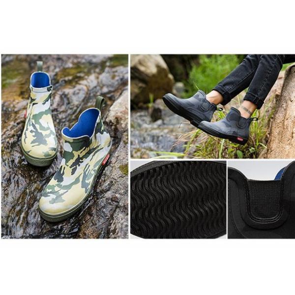 インブーツ メンズ靴 レインシューズ メンズ ショートブーツ 防水 雨靴 シューズ AlohaMahalo 新作 歩きやすい