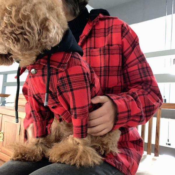 犬とお揃いコーデ 犬 ペアルック チェック柄シャツ 大型犬/小型犬 春夏服 お揃いの服♪ペットとオーナーがペアルック出来る♪お出かけ 飼い主様とお揃い 猫服|rainbow18-store