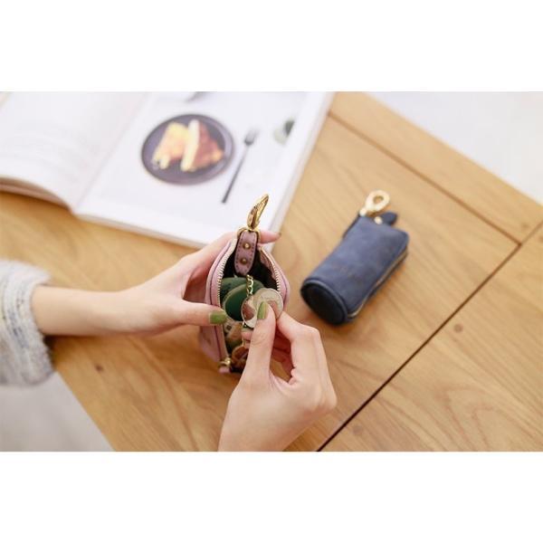 キーホルダー カードポケット 小銭入れ 鍵 カード かわいい スマイル コンパクト 男女兼用 PU 人気 送料無料 セール