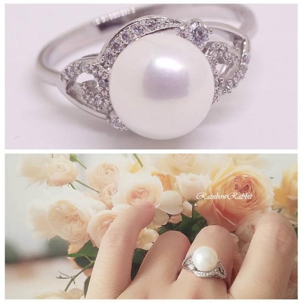 指輪 18K RGP プラチナ ダイヤ CZ パール フラワー 上品 リング yu1093e 入学 花見 お祝い ギフト
