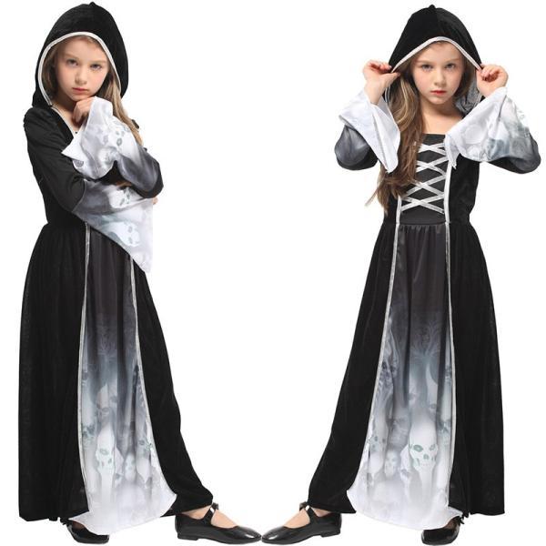b73d746f233dd ハロウィン 衣装 可愛い コスプレ ウィッチ 魔女 巫女 髑髏 ホラー 恐怖 女の子 ドラキュラ 仮装 キッズ コスチューム 子供