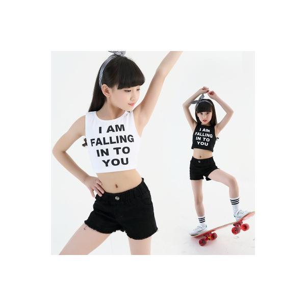 d20f0601235be ダンス衣装 学園祭 子供服 キッズ 子供衣装 タンクトップ パンツ 短パン 女の子 チアリーダー ...