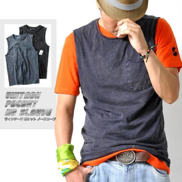 ノースリーブシャツタンクトップビンテージ風Tシャツ胸ポケット無地メンズトップス2色T105M便