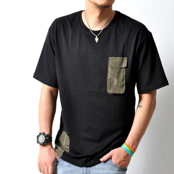 ミリタリーポケットTシャツ半袖胸ポケットデザイン黒無地メンズTA103M便