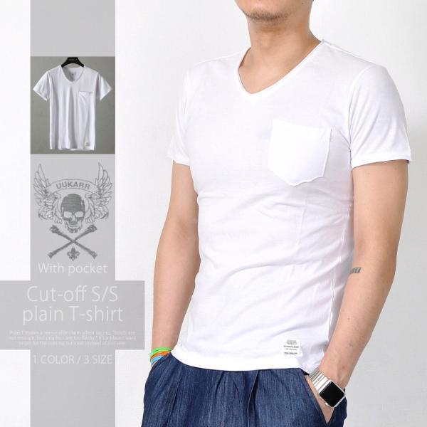 半袖TシャツポケットTシャツカットオフ加工無地綿100メンズトップスTA118M便