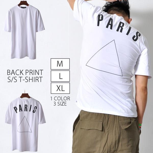 バックプリント半袖TシャツトップスシンプルアクセントメンズアクセントレディースシャツTA151M便