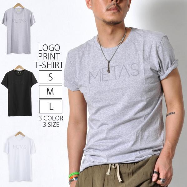 ロゴプリントTシャツメンズトップスサラサラカットソーユニセックスクルーネック3色TA153M便