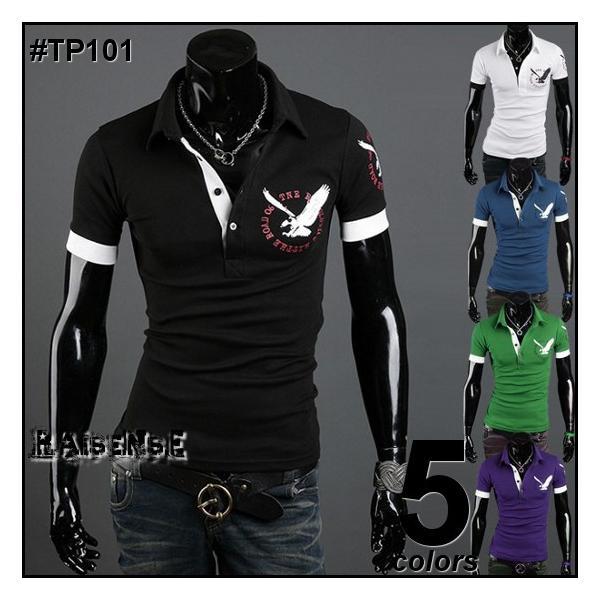 御免ポロシャツ半袖ポロシャツメンズ胸元&バックプリントポロシャツ5色M便TP101