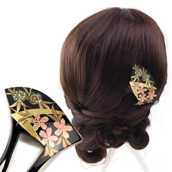 髪飾り 黒留袖 結婚式 成人式 浴衣 和装 バチ型 螺鈿 簪 かんざし 桜 梅 着物 卒業式 入学式 ヘアアクセサリー ウェディング