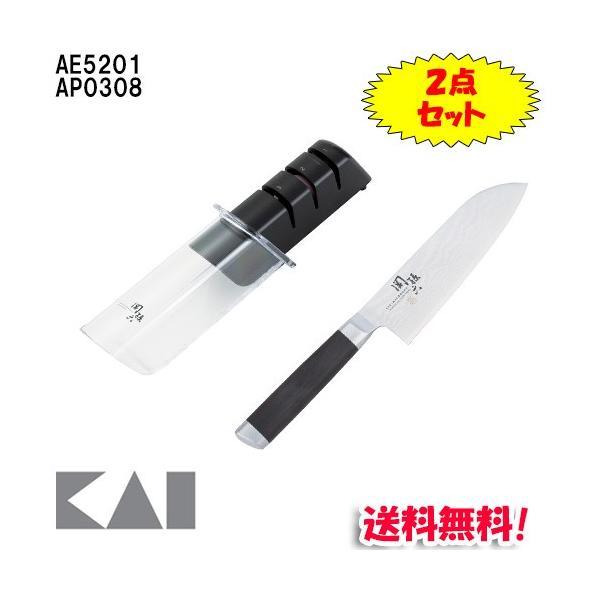 (送料無料) 貝印 関孫六 ダマスカス 小三徳 145mm AE5201&ダイヤモンド&セラミックシャープナー AP0308セット AE5201S|rakurakumarket