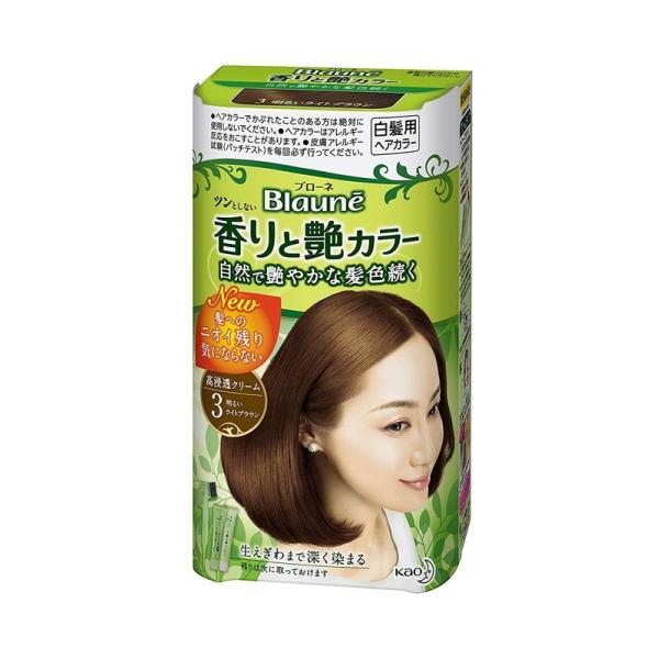 花王 ブローネ 香りと艶カラー クリーム 3:明るいライトブラウン|rakushindenki