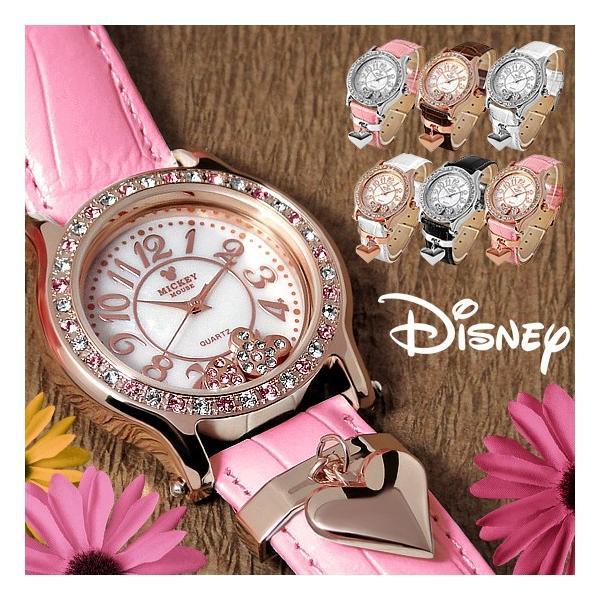 ミッキー 腕時計 ディズニー Disney ミッキー レディース 本牛革 レザー ハート アウトレット disney_y|rakusho