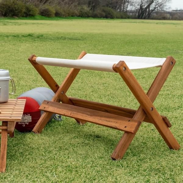 ベンチ 天然木アカシア材 折畳み フォールディングチェア 折りたたみ アウトドア キャンプ グランピング 完成品 イス 椅子 いす スツール 座面高さ40cm