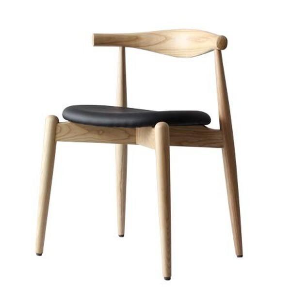 ハンス・J ・ウェグナー エルボチェア 北欧モダン パーソナルチェア 椅子 いす イス 木製 デザイナーズ PVCレザーシート 天然木ビーチ材 座面高さ48cm