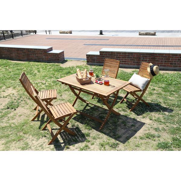 テラス 屋外用家具 ベランダ 折りたたみガーデンテーブル・チェア 5点セット 人気のアカシア材、パラソル使用可能 reino レイノ