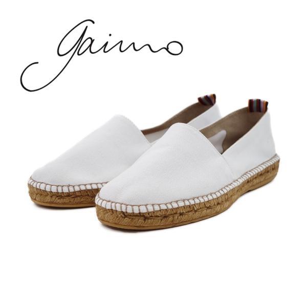 【GAIMO ガイモ】 エスパドリーユ (CAMPESINO LONA 112) スペイン製 キャンバススリッポンシューズ メンズ スニーカー ホワイト 白