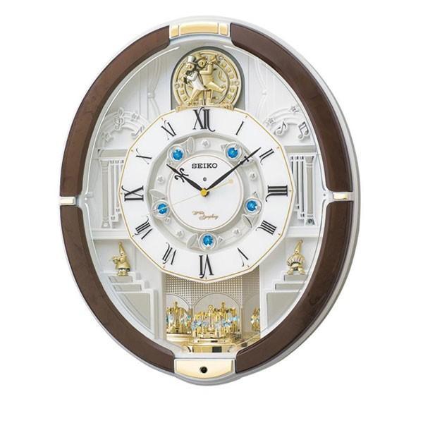 SEIKO セイコークロック 電波クロック からくり掛時計 ウエーブシンフォニー RE575B 送料無料