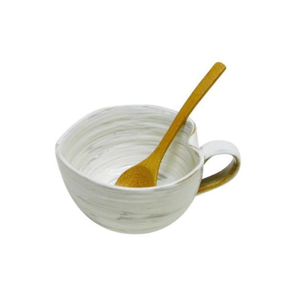 42653 波佐見焼 粉引 納豆鉢(さじ付)
