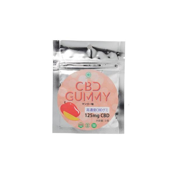l北海道・沖縄もメール便可能lCBD GUMMY 高濃度CBDグミ No.90350300 (CBD含有量 25mg×5個入り) マンゴー味