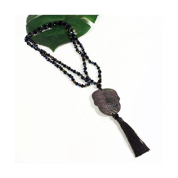 メキシコ シュガースカル(ドクロ)シェル(虹光沢あり) 彫刻 ジルコニア ネックレス ブラック 70cm|メキシカンスカル|カラベラ|死者の日