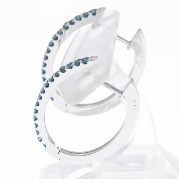 ブルーダイヤモンド フープピアス K18WG エタニティ