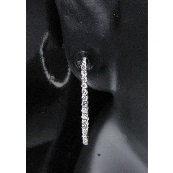 フープ ピアス K18ホワイトゴールド ダイヤモンド 中折れ ピアス 0.5ct エタニティ