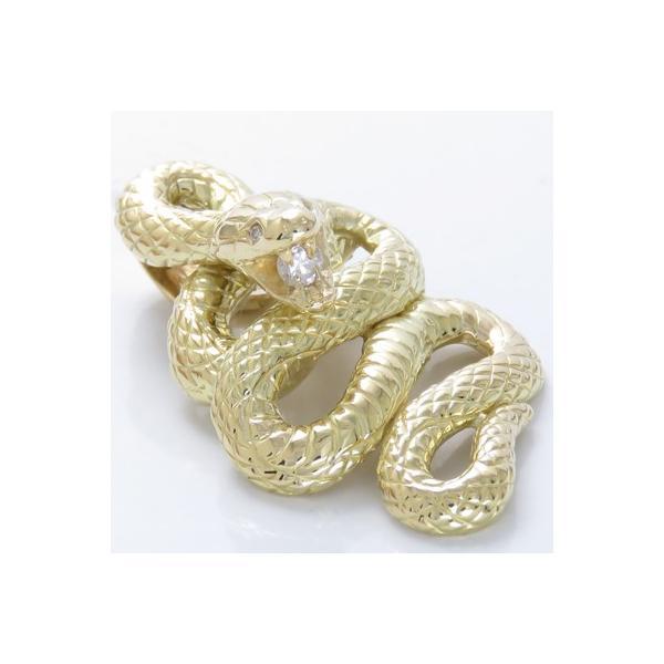 ネックレス メンズ 金 蛇 ペンダントヘッド K18 ダイヤモンド0.11ct 特大 へび プラチナ 喜平 ネックレス 対応可能ペンダントトップ 喜平チェーンペンダント