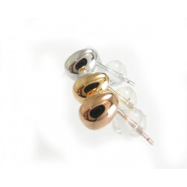 セカンドピアス タマゴ ピアス 地金 K18PG たまご型 太軸 軸太 特芯 0.9ミリ