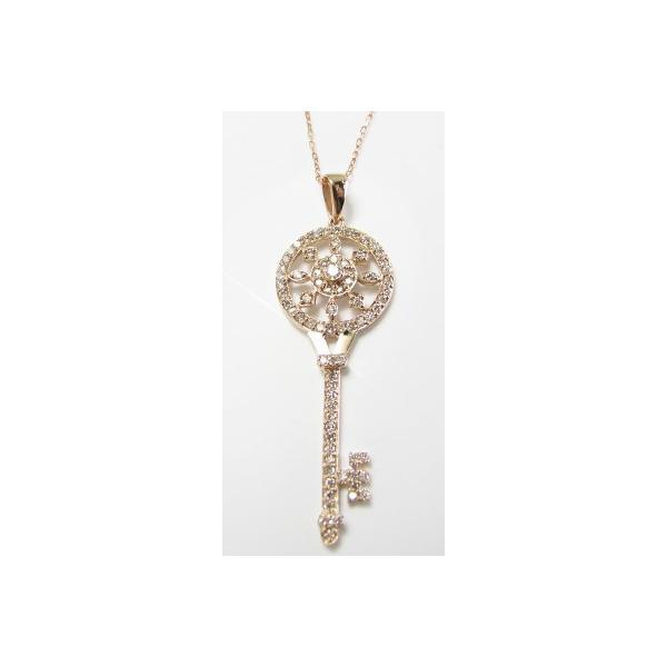 K18 鍵 太陽 ダイヤモンド ペンダント ネックレス K18 キー かぎ カギ key sun motif 選べる金色