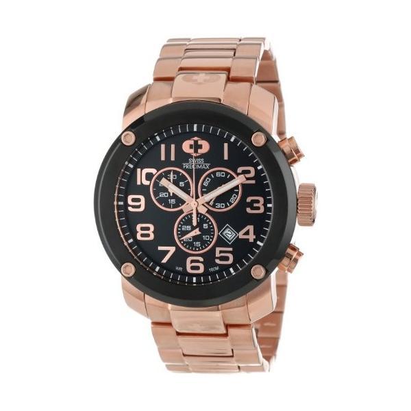 Swiss Precimax Men's SP13017 Marauder Pro Black Dial with Rose-Gold Stainless Steel Band Watch【並行輸入品】|rarahu-store|01