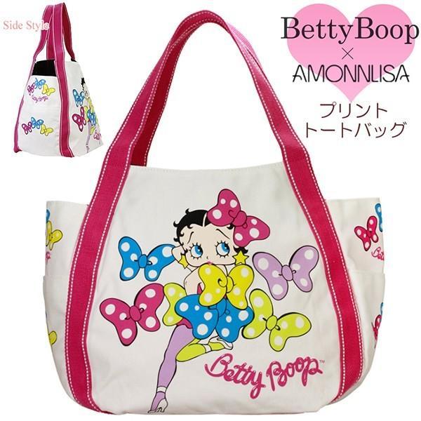 ベティブープBettyBoopトートバッグカジュアルプリントリボンキャンバスバッグ正規品