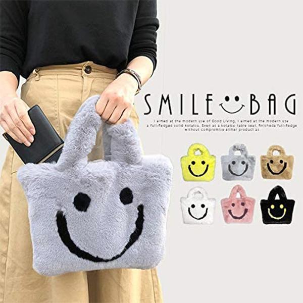 スマイルファーバッグレディースバッグにこちゃんニコちゃんスマイルsmileBAGbagかばん鞄ファーもこもこオシャレ人気