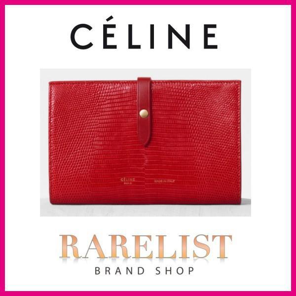 セリーヌ CELINE 財布 長財布 2つ折り 二つ折り 新作 ポップレッド リザード レザー 本革 ロゴ ストラップ